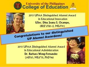 UPAA confers 2015 Distinguished Alumni Award to Educ alumnae, Dr. Dina S. Ocampo and Dr. Barbara Wong-Fernandez
