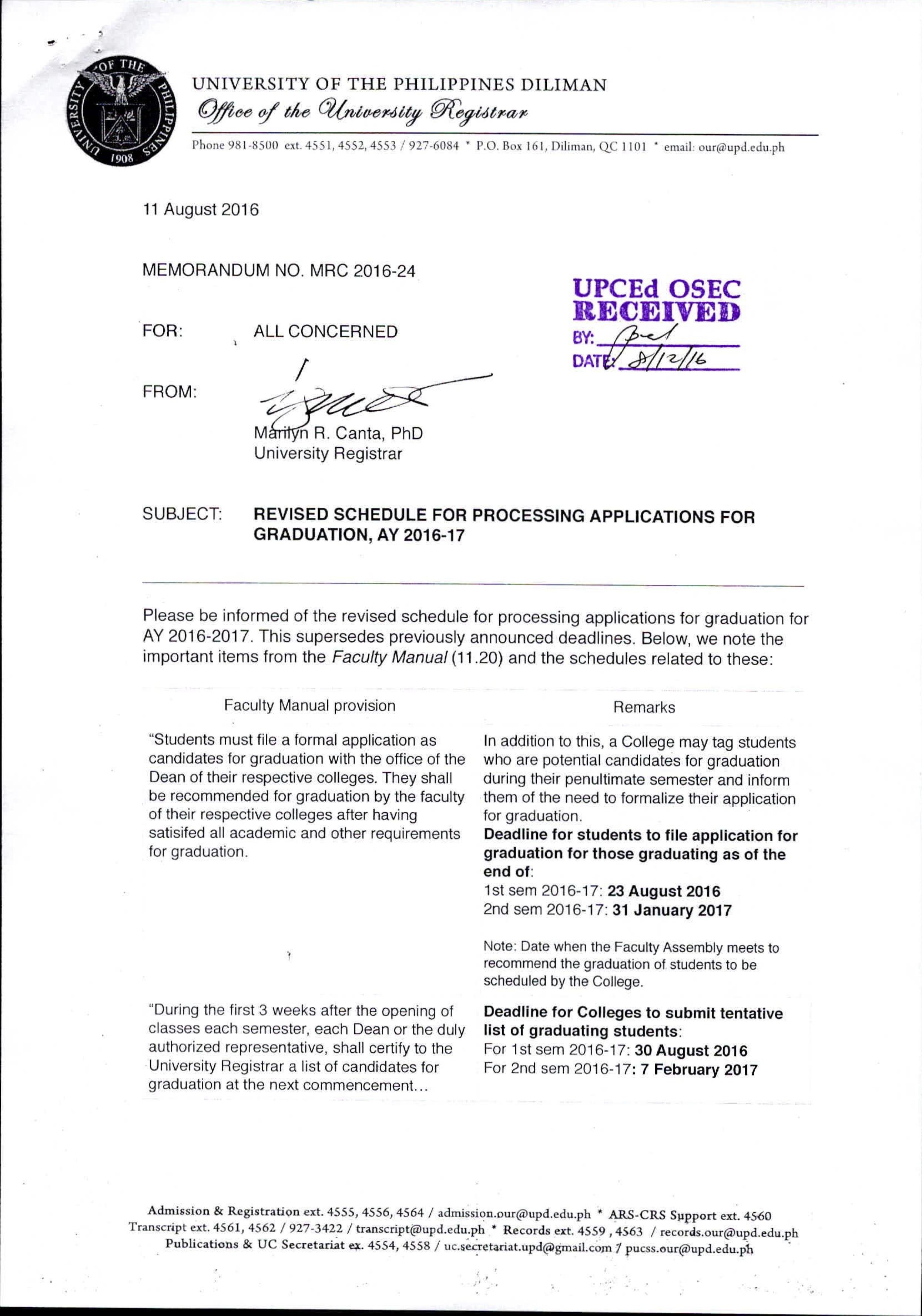 announcements memo mrc 16 24 revised sched grad app
