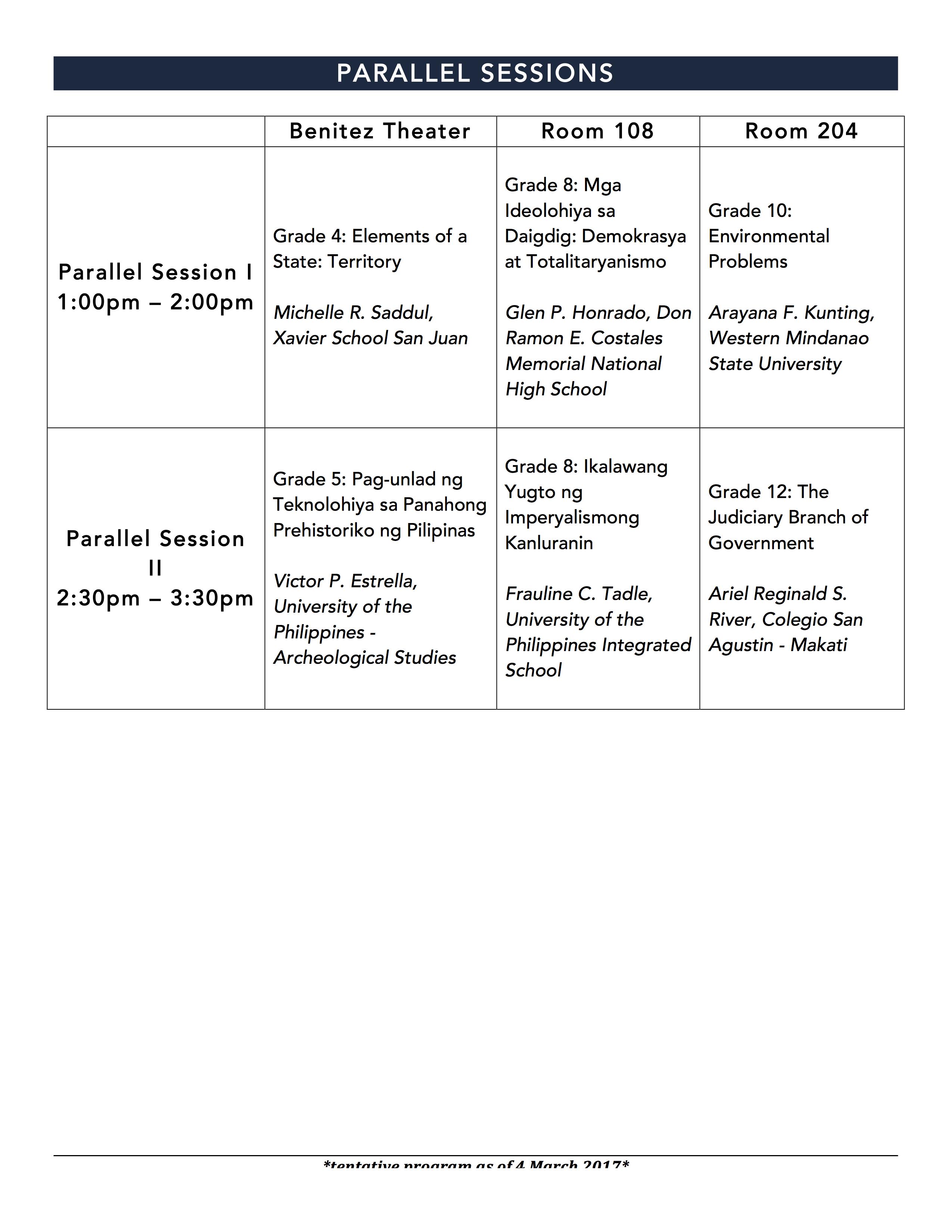 National Socstud Conference Program Parallel Sessions