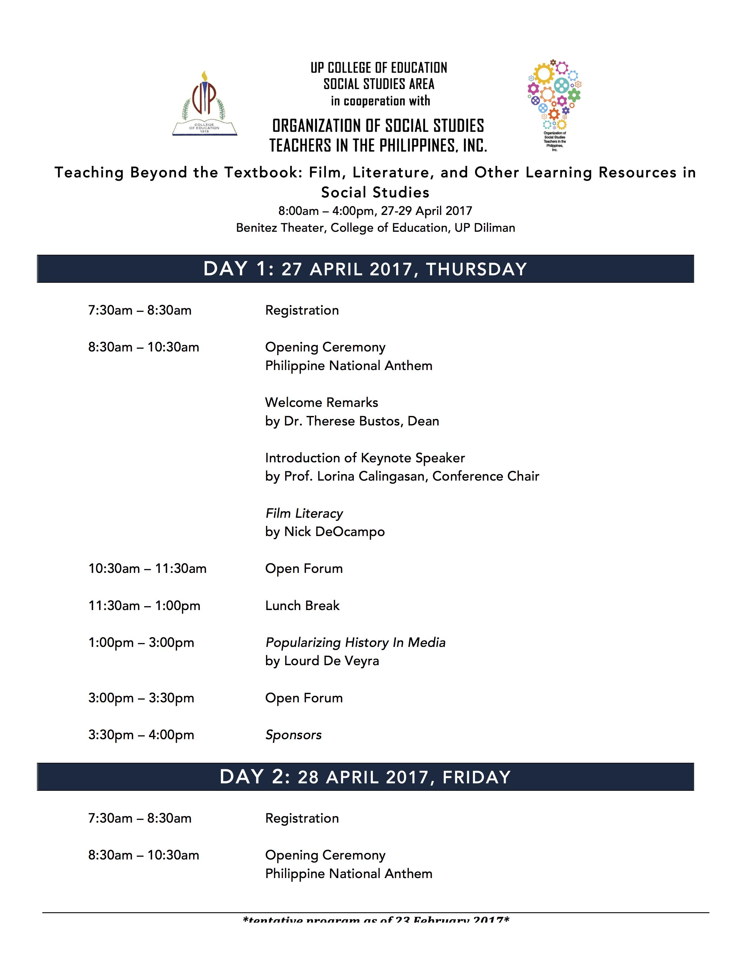 Program As of 23 February 1