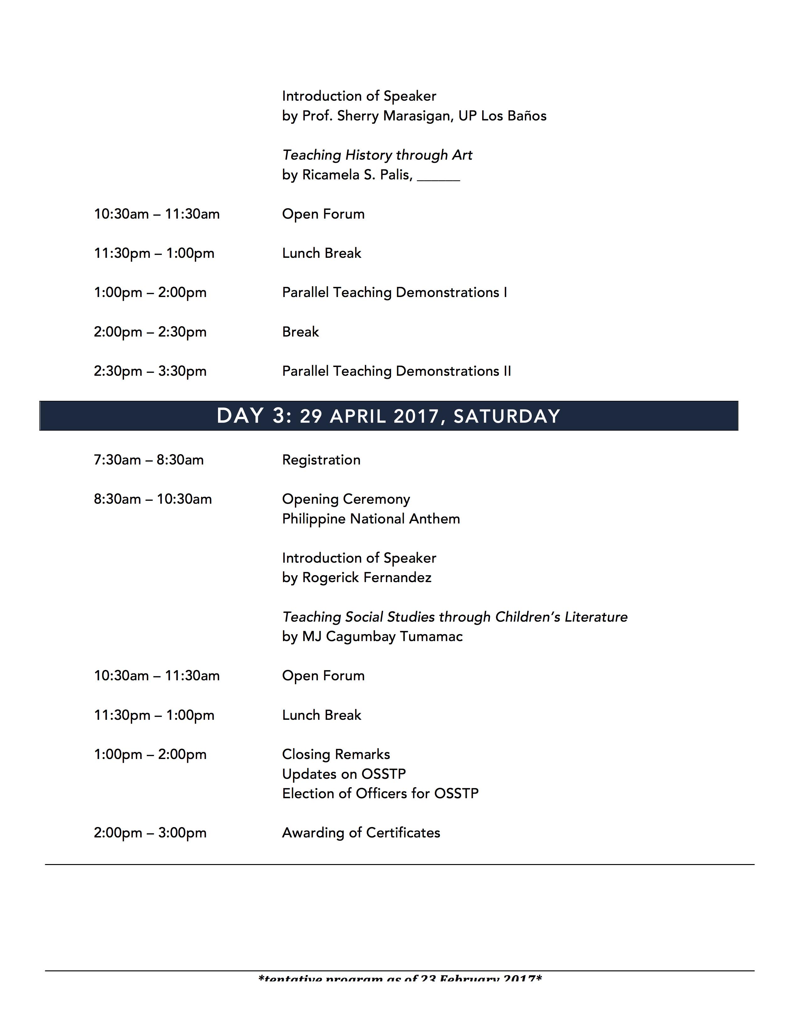 Program As of 23 February 2